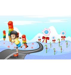 A girl skating at the road vector