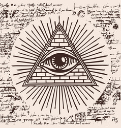 All-seeing eye of god inside triangle pyramid vector