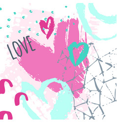 art background with watercolor hearts rough brush vector image