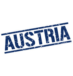 Austria blue square stamp vector
