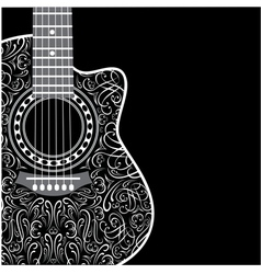 Background with clipped guitar and stylish ornamen vector