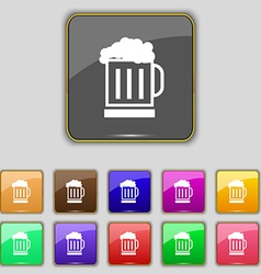 Beer glass icon sign Set with eleven colored vector image