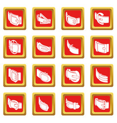 Belt buckle icons set red square vector