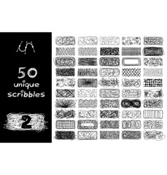 black 50 scribbles objects set vector image