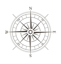 Black compass rose isolated on white vector image