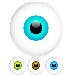 bright big eyes over white blue green and brown vector image