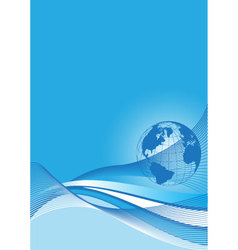 Business background with a blue world globe vector
