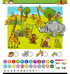 Calculating animals cartoon game vector
