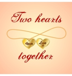 Card with opened golden medallion of two hearts vector