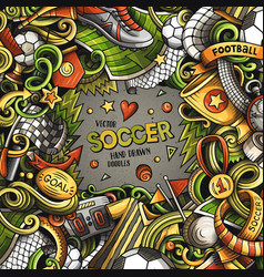 cartoon doodles soccer frame vector image