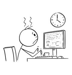 Cartoon tired man office worker or businessman vector
