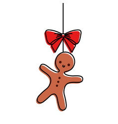 christmas gingerbread man bow ornament hanging vector image