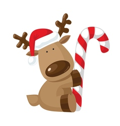Christmas reindeer holding candy cane vector