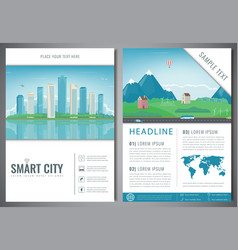 city brochure with urban landscape and suburb vector image