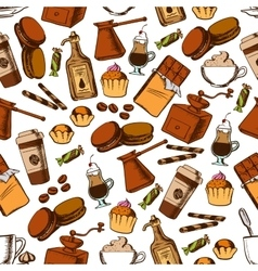 Coffee chocolate and pastries seamless pattern vector image