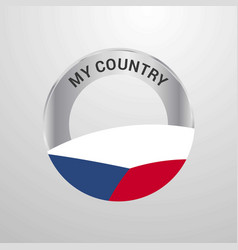 czech republic my country flag badge vector image