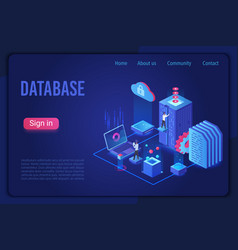 database data storage dark neon light isometric vector image
