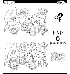 differences color book with happy fish characters vector image