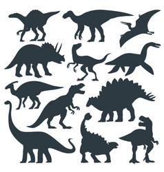 Dinosaur grafic hand drawn silhouette set vector