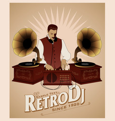 Dj retro style with mustache vest bow tie and vector