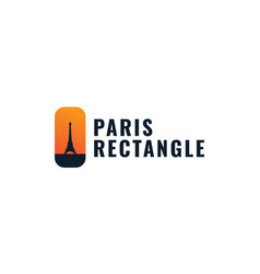 Eiffel tower with sunset logo design vector
