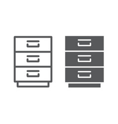 filling cabinet line and glyph icon office vector image