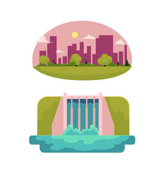 Flat hydro power station green city vector