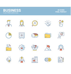 flat line filled icons design-business vector image