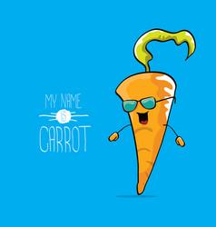 Funny cartoon orange carrot character vector
