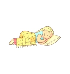 Girl Taking A Nap In Bed vector image