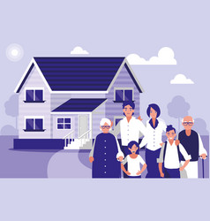 Group of family members with house vector