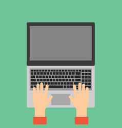 hands typing on laptop keyboard vector image