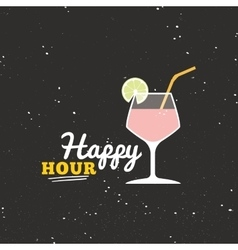 Happy hour label vector image