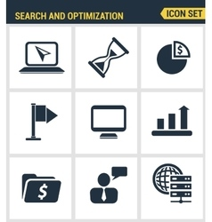 Icons set premium quality of website searching vector image