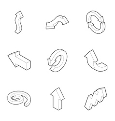 Index icons set outline style vector