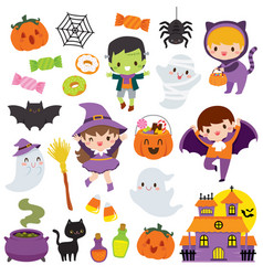 Kawaii cute halloween clipart set vector