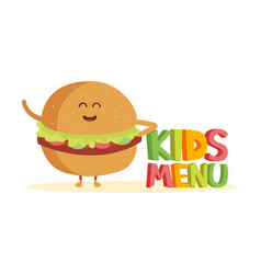 kids menu funny 3d sign with burger characters vector image