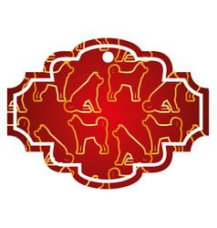 label dog zodiac calendar pattern vector image