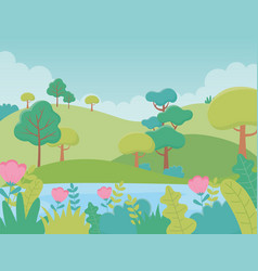 landscape lake flowers trees hills meadow foliage vector image