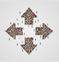 Large group people in arrows form vector