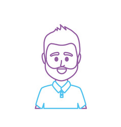 Line avatar man with t-shirt design vector
