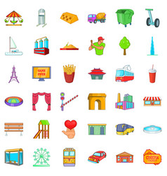 main city icons set cartoon style vector image