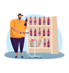 man at wine shop choosing red alcohol bottle vector image