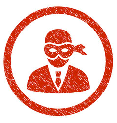 Masked thief rounded grainy icon vector