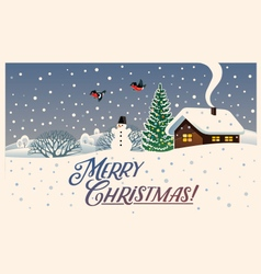 merry christmas winter landscape vector image