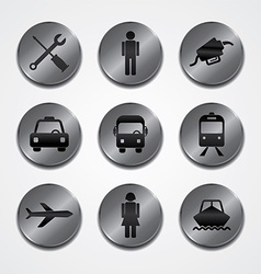 Metal plate theme icon button set vector