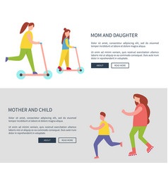 mom and daughter and child vector image