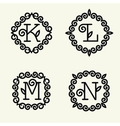 monogram style linear with letters k l m n vector image