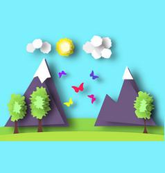 Mountain scene paper world vector