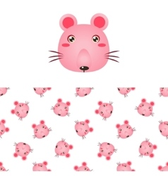 Mouse head icon and pattern vector